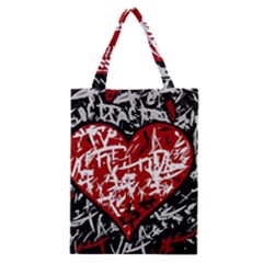 Red Graffiti Style Hart  Classic Tote Bag by Valentinaart