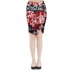 Red Graffiti Style Hart  Midi Wrap Pencil Skirt by Valentinaart