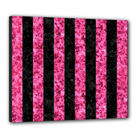 Stripes1 Black Marble & Pink Marble Canvas 24  X 20  (stretched) by trendistuff