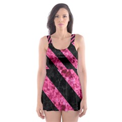 Stripes3 Black Marble & Pink Marble (r) Skater Dress Swimsuit by trendistuff