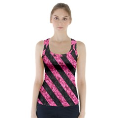 Stripes3 Black Marble & Pink Marble (r) Racer Back Sports Top by trendistuff