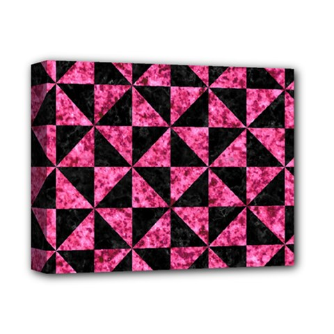 Triangle1 Black Marble & Pink Marble Deluxe Canvas 14  X 11  (stretched) by trendistuff