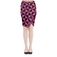Triangle1 Black Marble & Pink Marble Midi Wrap Pencil Skirt by trendistuff