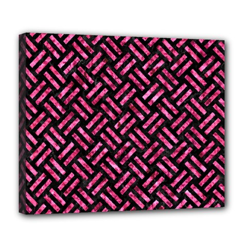 Woven2 Black Marble & Pink Marble Deluxe Canvas 24  X 20  (stretched) by trendistuff