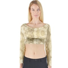 Light Circles, Brown Yellow Color Long Sleeve Crop Top by picsaspassion