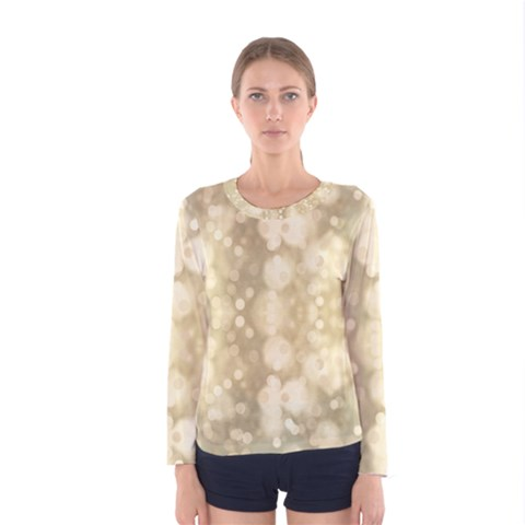 Light Circles, Brown Yellow Color Women s Long Sleeve Tee by picsaspassion