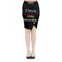 I Love You Proudly Midi Wrap Pencil Skirt by Valentinaart