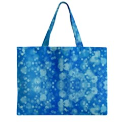 Light Circles, Dark And Light Blue Color Zipper Mini Tote Bag by picsaspassion