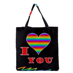 I Love You Grocery Tote Bag by Valentinaart