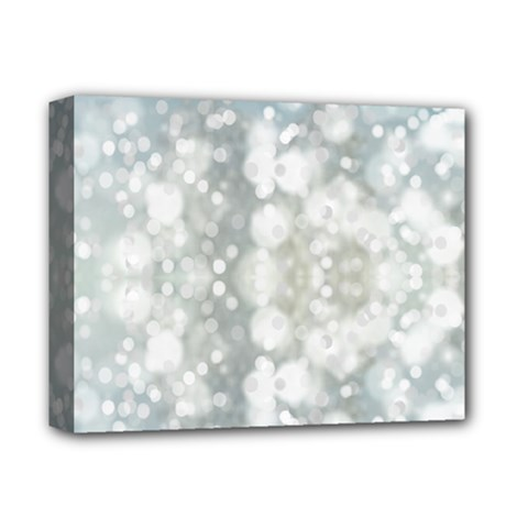 Light Circles, Blue Gray White Colors Deluxe Canvas 14  X 11  by picsaspassion