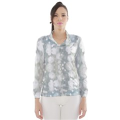 Light Circles, Blue Gray White Colors Wind Breaker (women)