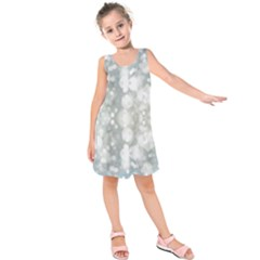 Light Circles, Blue Gray White Colors Kids  Sleeveless Dress by picsaspassion