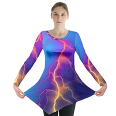 Lightning Colors, Blue Sky, Pink Orange Yellow Long Sleeve Tunic  by picsaspassion