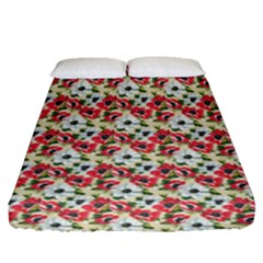 Gorgeous Red Flower Pattern Fitted Sheet (queen Size) by Brittlevirginclothing