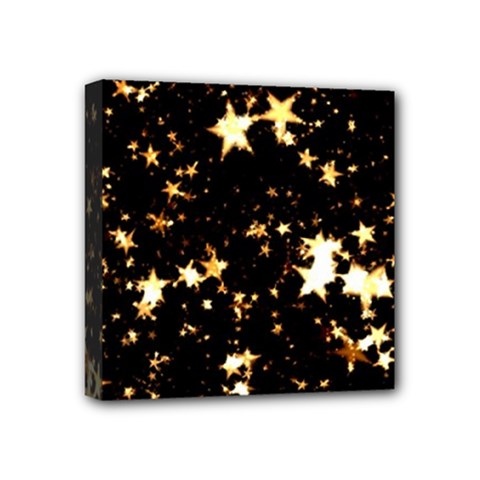 Golden Stars In The Sky Mini Canvas 4  X 4  by picsaspassion