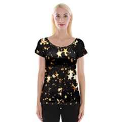 Golden Stars In The Sky Women s Cap Sleeve Top