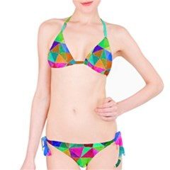 Triangles, Colorful Watercolor Art  Painting Bikini Set by picsaspassion