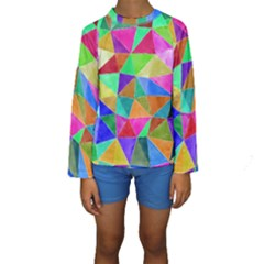 Triangles, Colorful Watercolor Art  Painting Kids  Long Sleeve Swimwear