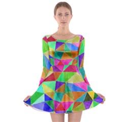Triangles, Colorful Watercolor Art  Painting Long Sleeve Skater Dress by picsaspassion