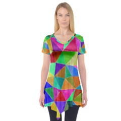 Triangles, Colorful Watercolor Art  Painting Short Sleeve Tunic  by picsaspassion