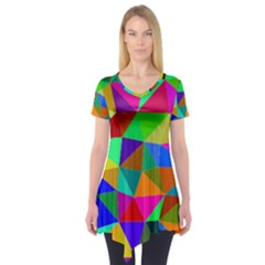 Colorful Triangles, Oil Painting Art Short Sleeve Tunic  by picsaspassion