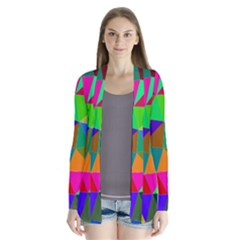 Colorful Triangles, Oil Painting Art Cardigans by picsaspassion