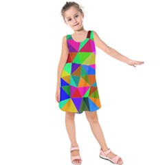 Colorful Triangles, Oil Painting Art Kids  Sleeveless Dress