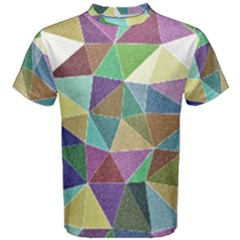 Colorful Triangles, Pencil Drawing Art Men s Cotton Tee
