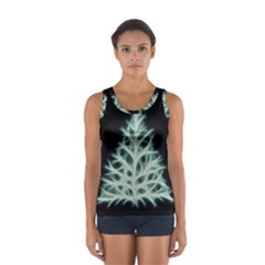 Christmas Fir, Green And Black Color Women s Sport Tank Top  by picsaspassion