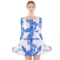 Anchor Aquarel Painting Art, Soft Blue Long Sleeve Velvet Skater Dress