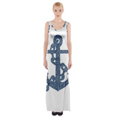 Anchor Pencil Drawing Art Maxi Thigh Split Dress by picsaspassion