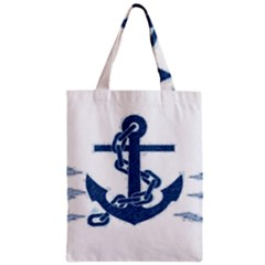 Blue Anchor Oil Painting Art Zipper Classic Tote Bag