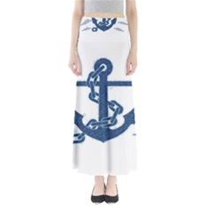 Blue Anchor Oil Painting Art Maxi Skirts by picsaspassion