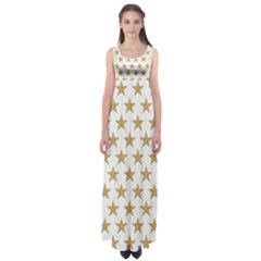Golden Stars Pattern Empire Waist Maxi Dress by picsaspassion