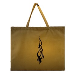 Flame Black, Golden Background Zipper Large Tote Bag by picsaspassion