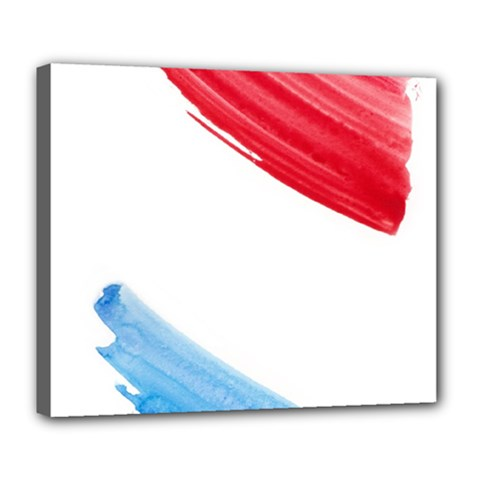 Tricolor Banner Watercolor Painting, Red Blue White Deluxe Canvas 24  X 20
