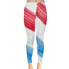 Tricolor Banner Watercolor Painting, Red Blue White Leggings
