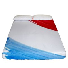 Tricolor Banner Watercolor Painting, Red Blue White Fitted Sheet (queen Size) by picsaspassion