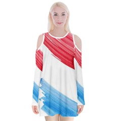Tricolor Banner Watercolor Painting, Red Blue White Velvet Long Sleeve Shoulder Cutout Dress