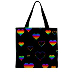 Rainbow Harts Zipper Grocery Tote Bag