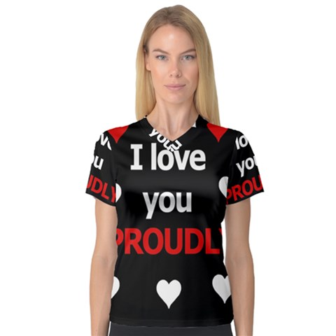 I Love You Proudly Women s V-neck Sport Mesh Tee by Valentinaart