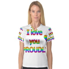 I Love You Proudly 2 Women s V Neck Sport Mesh Tee by Valentinaart