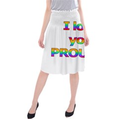 I Love You Proudly 2 Midi Beach Skirt by Valentinaart