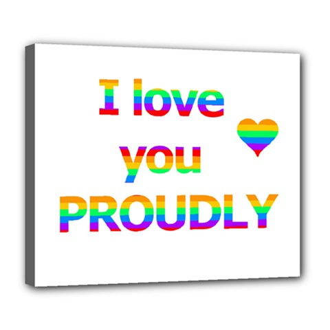 Proudly Love Deluxe Canvas 24  X 20   by Valentinaart