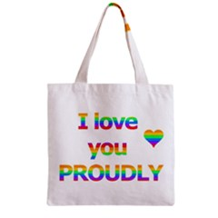 Proudly Love Zipper Grocery Tote Bag by Valentinaart