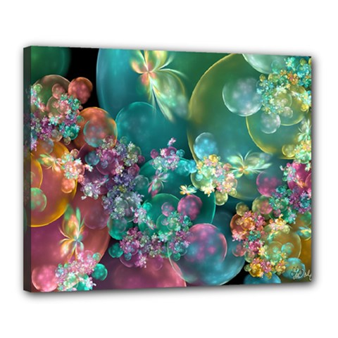 Butterflies, Bubbles, And Flowers Canvas 20  X 16  by WolfepawFractals