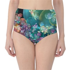 Butterflies, Bubbles, And Flowers High Waist Bikini Bottoms by WolfepawFractals