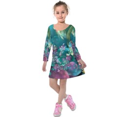 Butterflies, Bubbles, And Flowers Kids  Long Sleeve Velvet Dress by WolfepawFractals