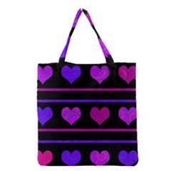 Purple And Magenta Harts Pattern Grocery Tote Bag by Valentinaart