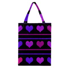 Purple And Magenta Harts Pattern Classic Tote Bag by Valentinaart